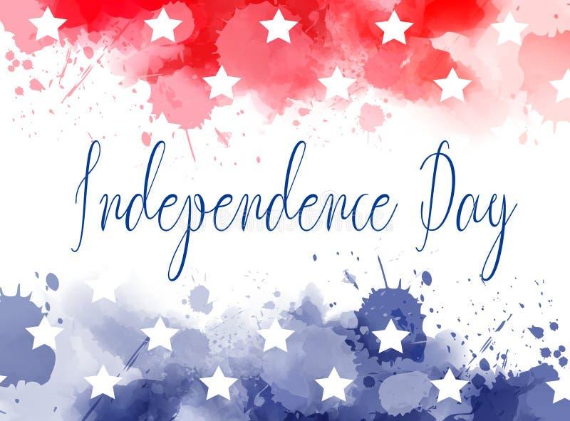 美国独立日水彩飞溅背景 库存例证