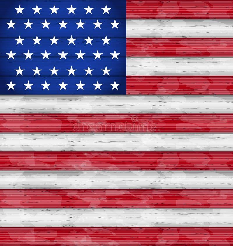 美国独立日的,木纹理美国国旗 皇族释放例证