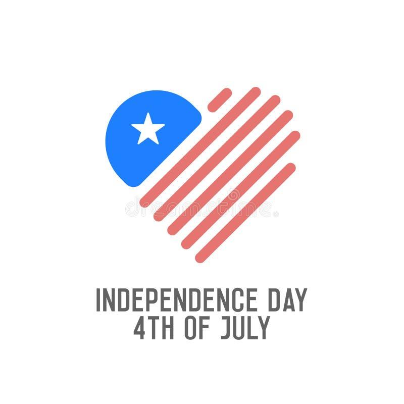美国独立日,第4 7月 传染媒介设计横幅为美国假日 与心脏形状商标象的美国国旗 向量例证