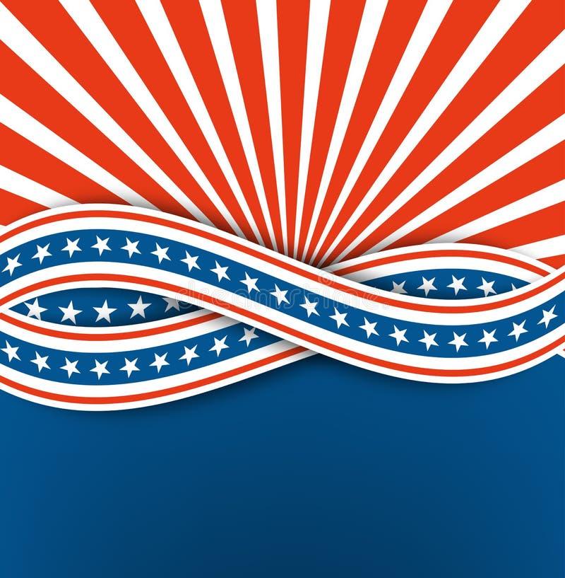 美国独立日 抽象背景 与星的蓝色和白色丝带 eps10开花橙色模式缝制的rac ric缝的镶边修整向量墙纸黄色 向量例证