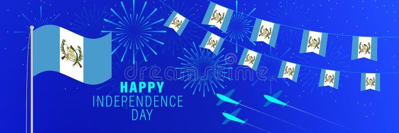 美国独立日9月15日危地马拉贺卡 与烟花、旗子、旗杆和文本的庆祝背景 库存例证