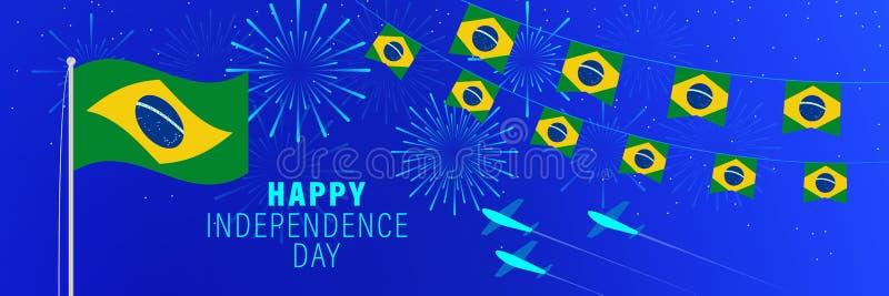 美国独立日9月7日巴西贺卡 与烟花、旗子、旗杆和文本的庆祝背景 库存例证