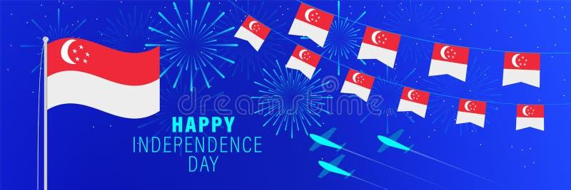 美国独立日8月9日新加坡贺卡 与烟花、旗子、旗杆和文本的庆祝背景 库存例证