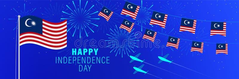 美国独立日8月31日马来西亚贺卡 与烟花、旗子、旗杆和文本的庆祝背景 免版税图库摄影