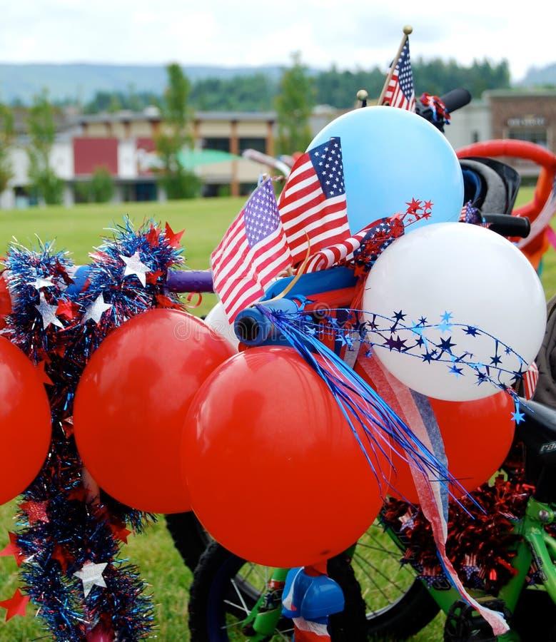 美国独立纪念日游行自行车 库存照片