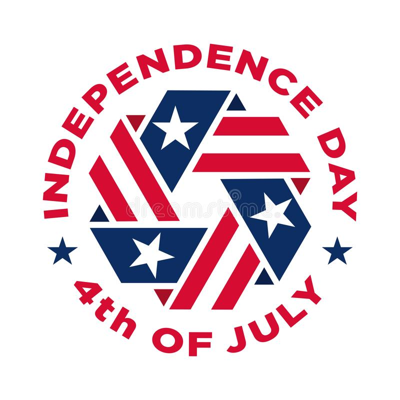 美国独立纪念日纪念美国独立的葡萄酒标签 向量例证