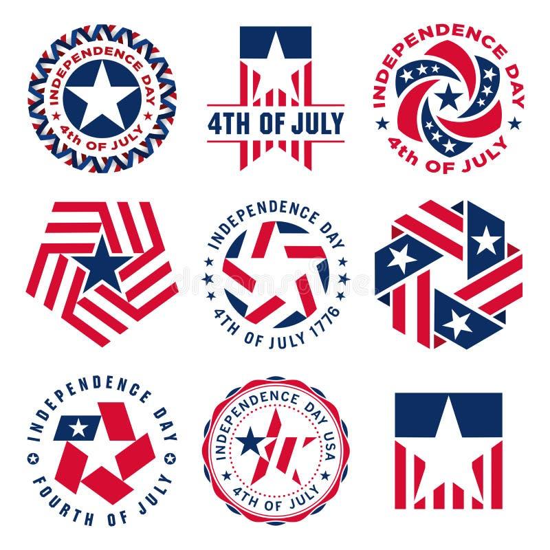 美国独立纪念日纪念美国美国独立日的葡萄酒标签的汇集 皇族释放例证