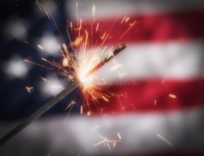 美国独立纪念日闪烁发光物 库存照片