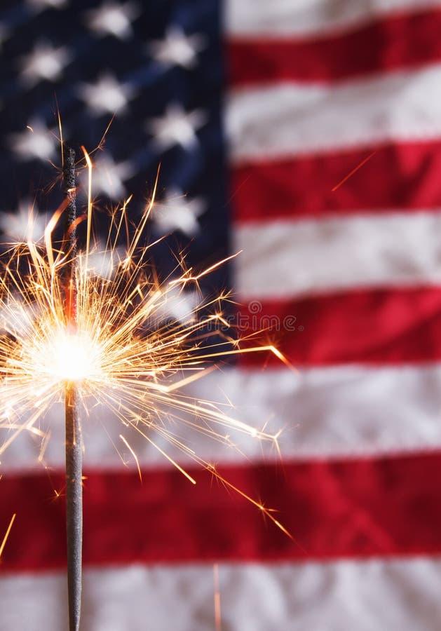 美国独立纪念日闪烁发光物 免版税库存照片