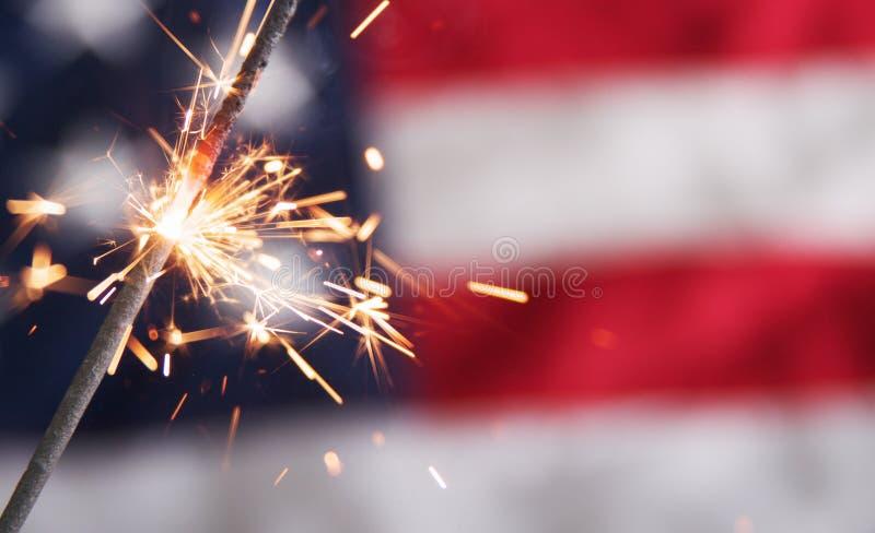 美国独立纪念日闪烁发光物 免版税图库摄影