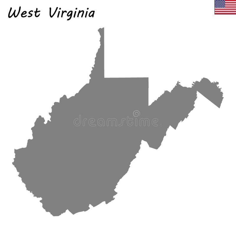 美国的优质地图状态 皇族释放例证