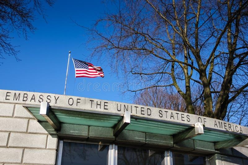 美国的使馆 都伯林 爱尔兰 免版税库存照片