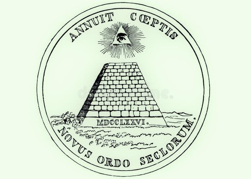 美国的全国封印,与上帝- Novus Ordo Seclorum的所有看见的眼睛的一座金字塔的正面(反向)边 向量例证