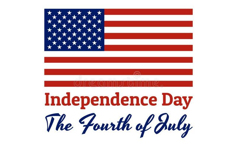 美国的国旗有红色条纹的和白色星和题字:美国独立日, 皇族释放例证