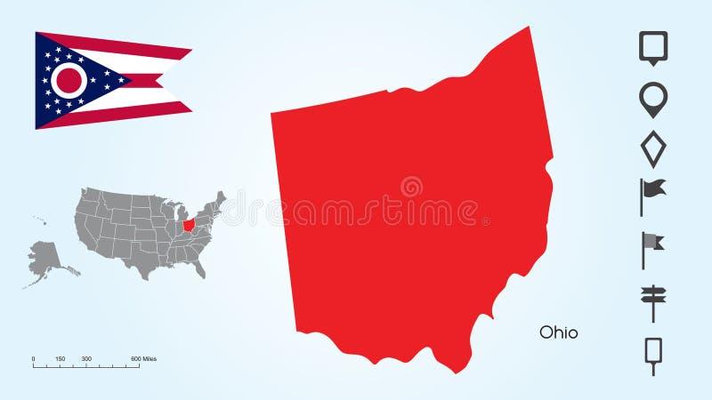 美国的地图有选择的俄亥俄州和俄亥俄旗子的与定位器汇集 皇族释放例证