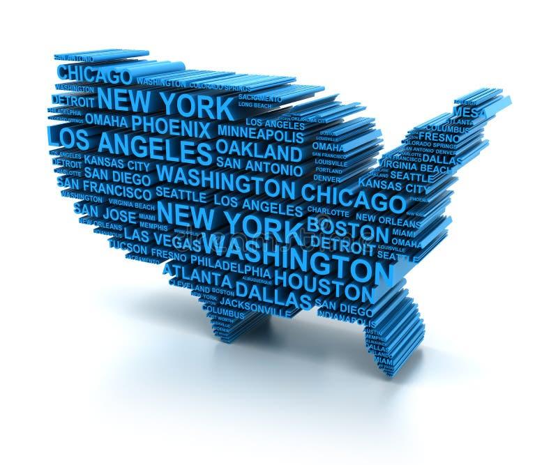 美国的地图由主要城市的名字形成了 库存例证