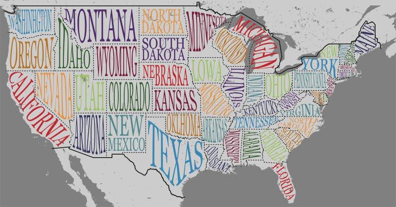 美国的地图的剪影有状态-得克萨斯、加利福尼亚、衣阿华、夏威夷、纽约等等的手写的名字的 库存例证