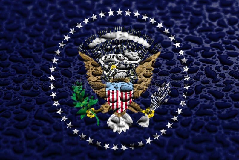 美国的总统国旗由水下落做成 背景展望概念 图库摄影