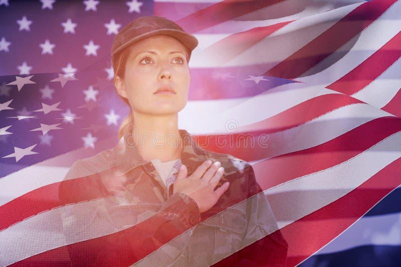 美国的挥动的旗子的综合图象 向量例证