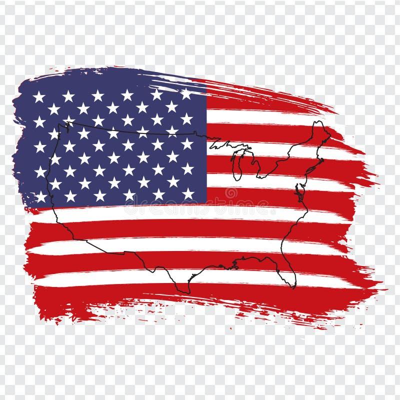 美国的旗子从刷子冲程和空白的地图美国的 美国的优质地图透明背景的 储蓄传染媒介 向量例证