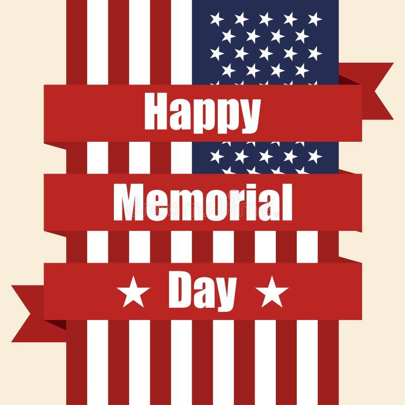 美国的旗子对与丝带的阵亡将士纪念日 也corel凹道例证向量 皇族释放例证