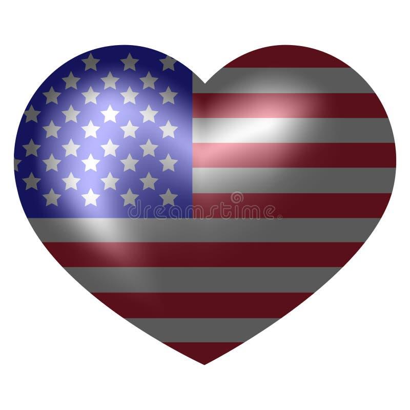 美国的旗子心形的 皇族释放例证