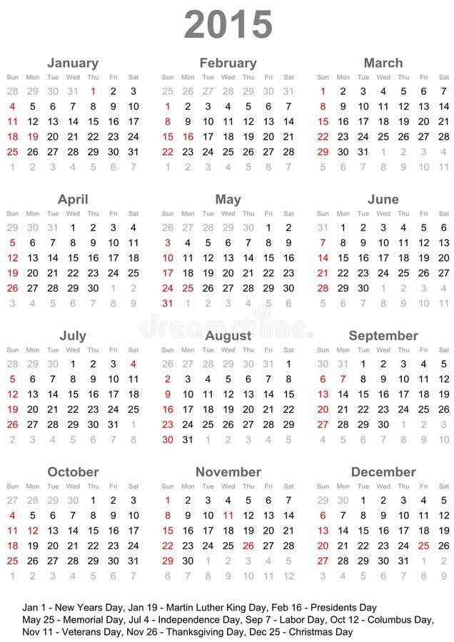 美国的日历2015年-在星期天,星期开始 向量例证