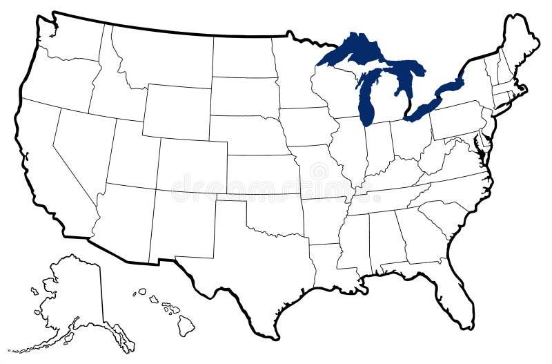 美国的概述地图 皇族释放例证