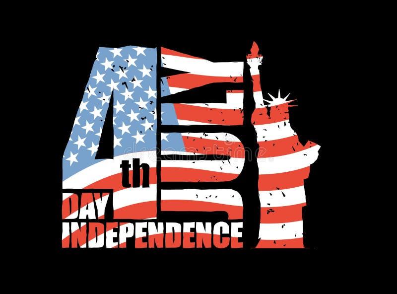 美国的独立日 自由女神像和美国旗子在g 库存例证
