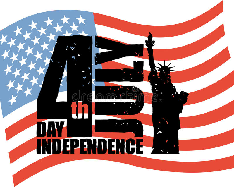 美国的独立日 自由女神像和美国旗子在g 皇族释放例证