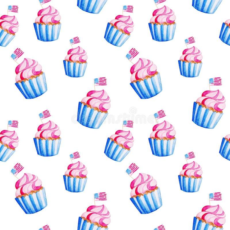 美国的独立 水彩杯形蛋糕样式为7月第4 例证假日,印刷品,横幅 皇族释放例证
