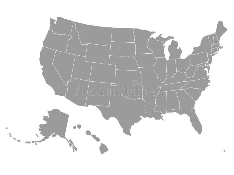 美国的空白的概述地图 向量 库存例证