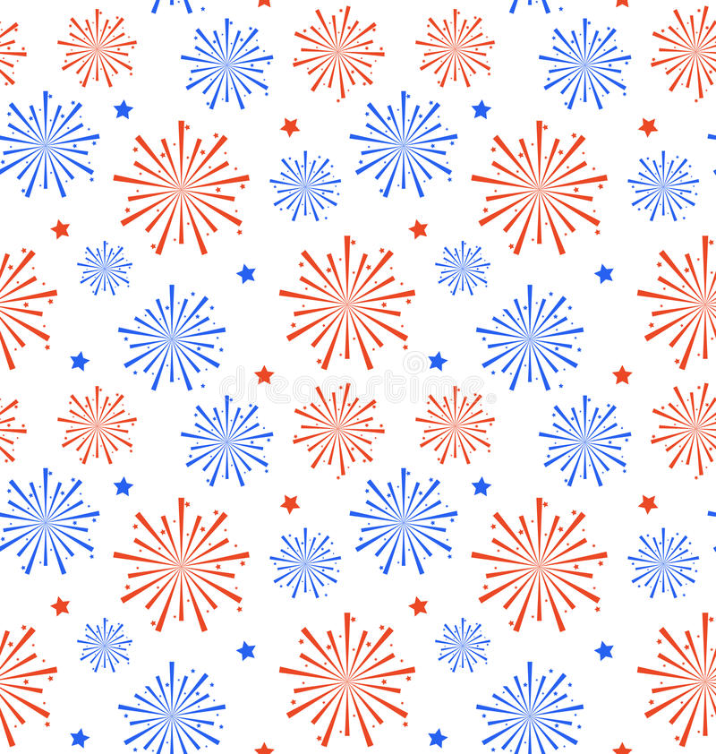 美国的美国独立日的,墙纸无缝的样式烟花 库存例证