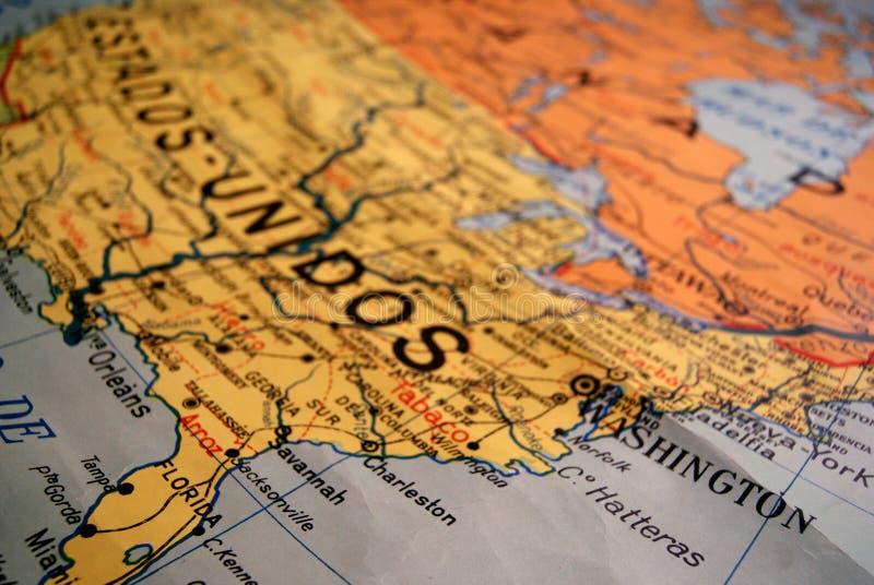 美国的老地图 库存图片
