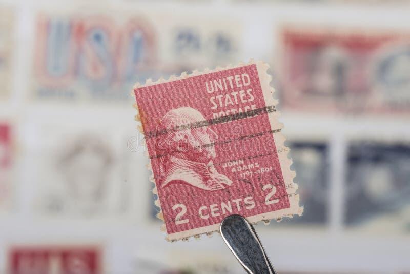 美国的老邮票 库存照片