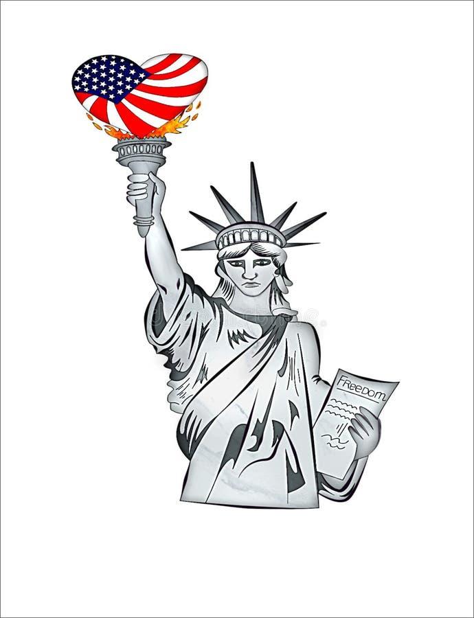 美国的自由雕象  库存例证