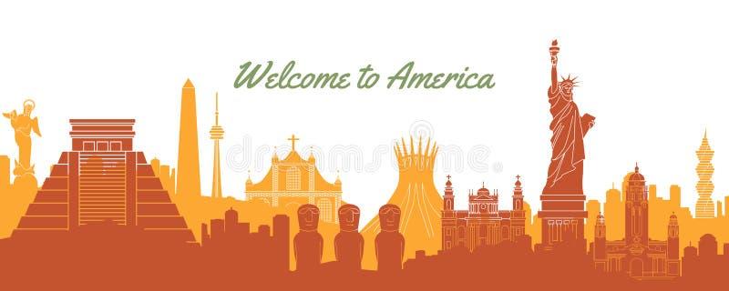 美国的著名地标,与剪影经典设计的旅行目的地 向量例证