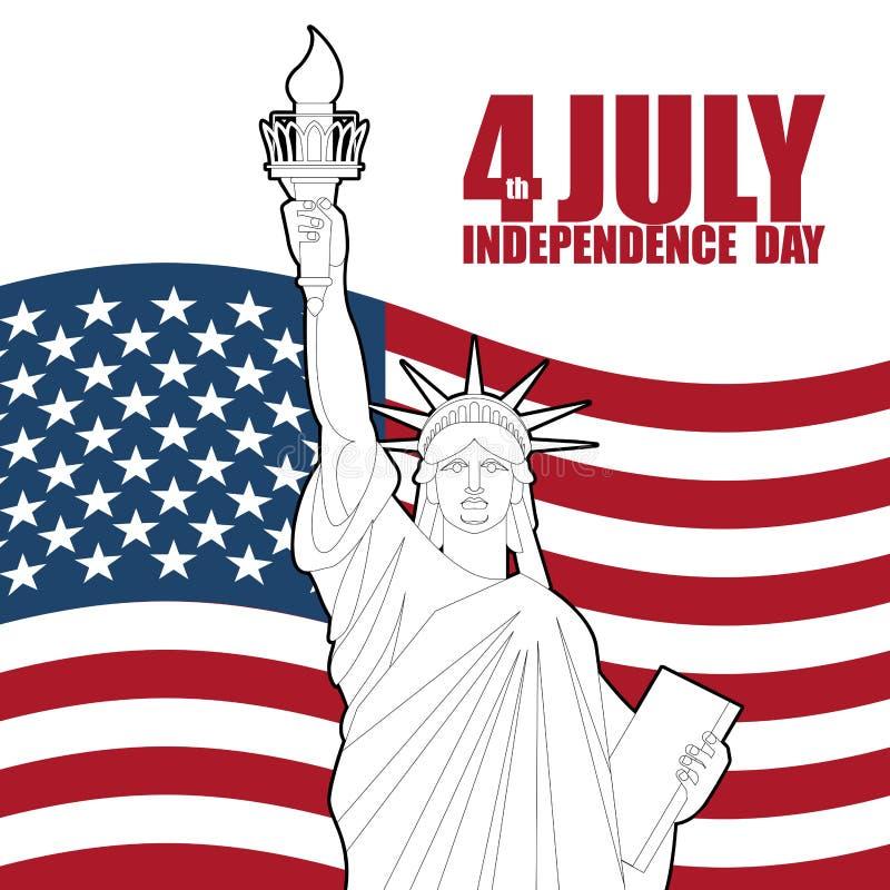美国的7月4日美国独立日 自由女神像和美国 皇族释放例证