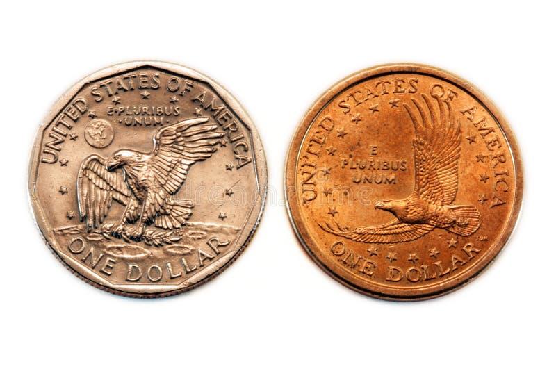 美国硬币比较美元 库存图片