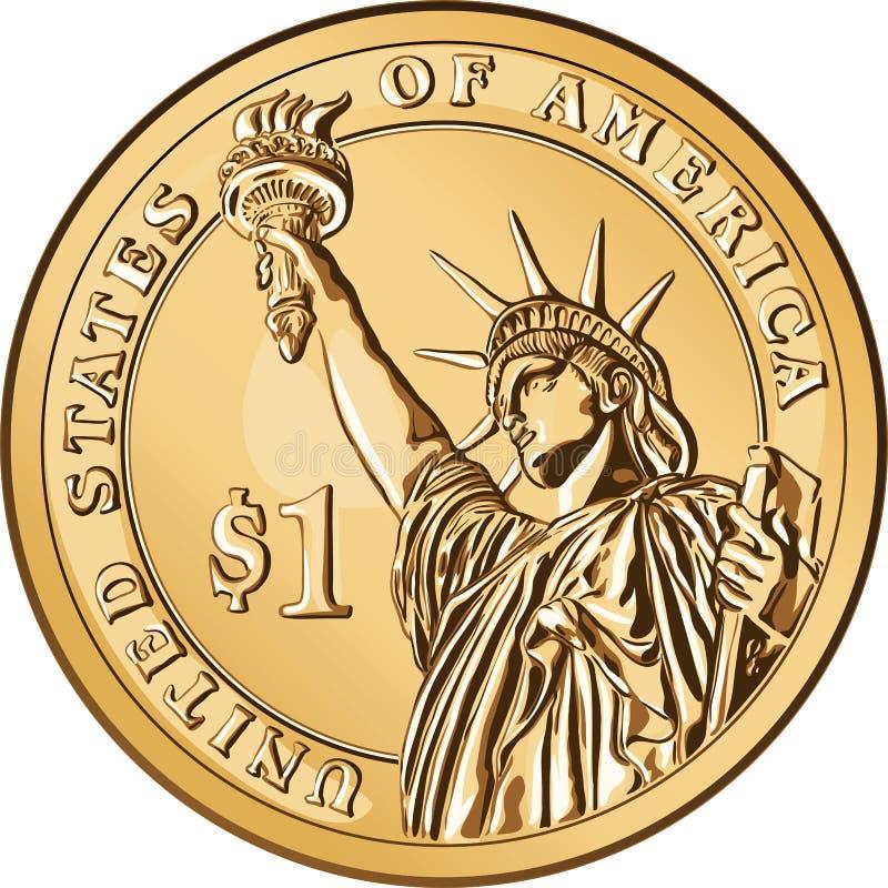 美国硬币美元金子一个向量 库存例证
