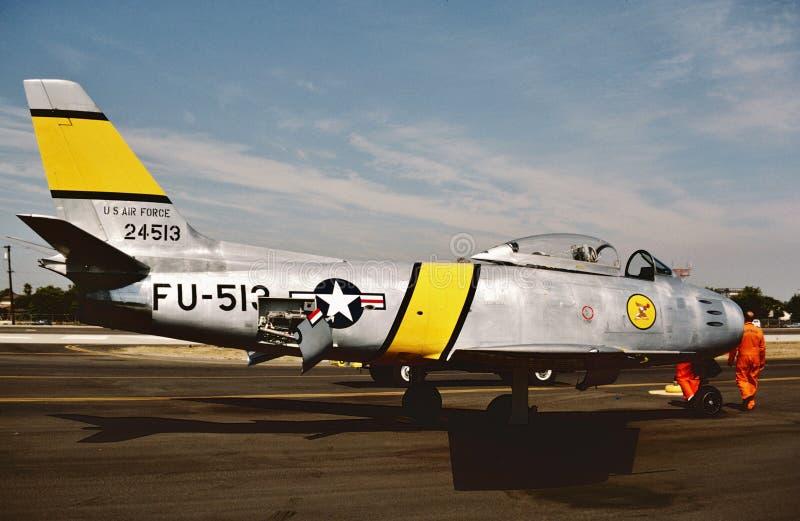 美国空军北美洲F-86D 1987年6月1日被采取的52-4513 在俄亥俄飞行表演 免版税库存图片