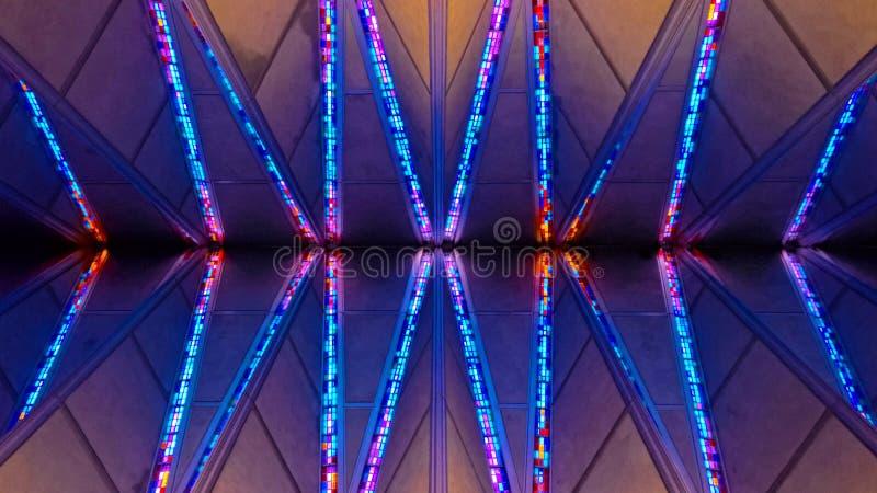 美国空军学院教堂彩色玻璃 免版税库存图片