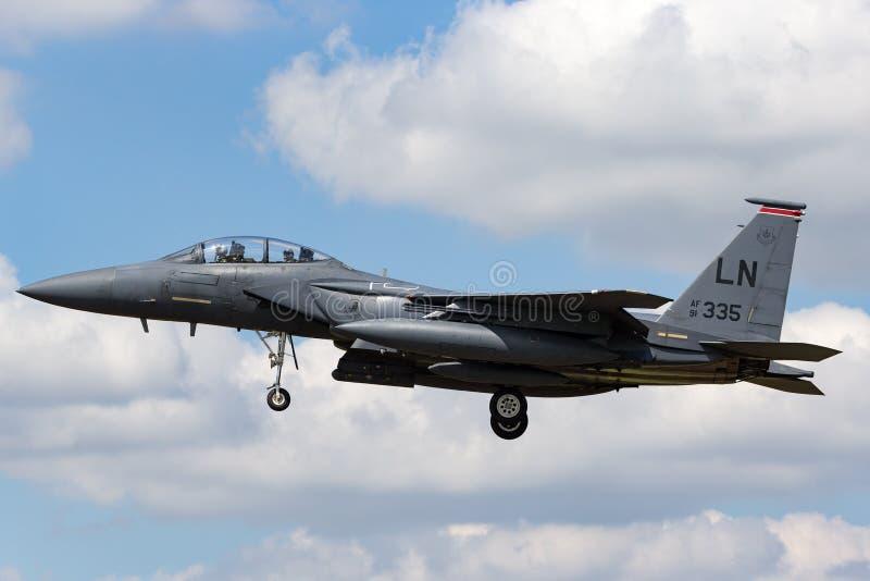 美国空军队美国空军麦克当诺道格拉斯公司F-15E罢工老鹰91-0335从494th战斗中队,第48个战斗机翼 图库摄影