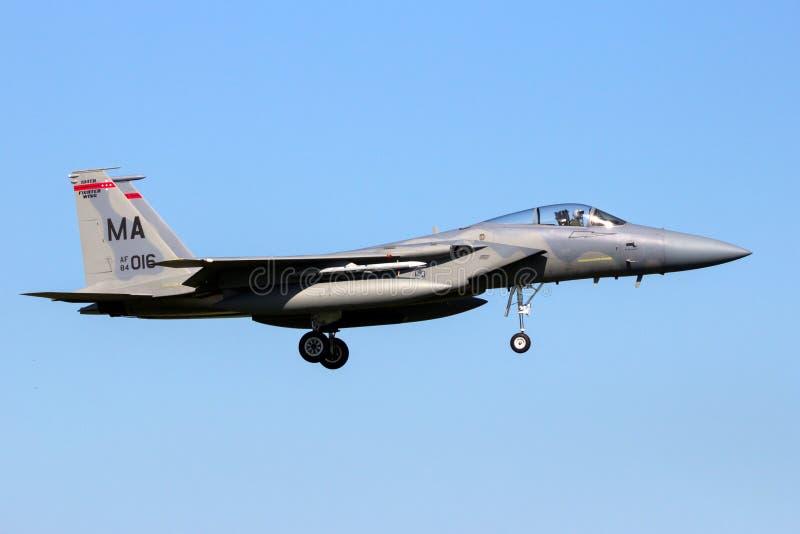 美国空军队F-15老鹰喷气式歼击机航空器 库存图片
