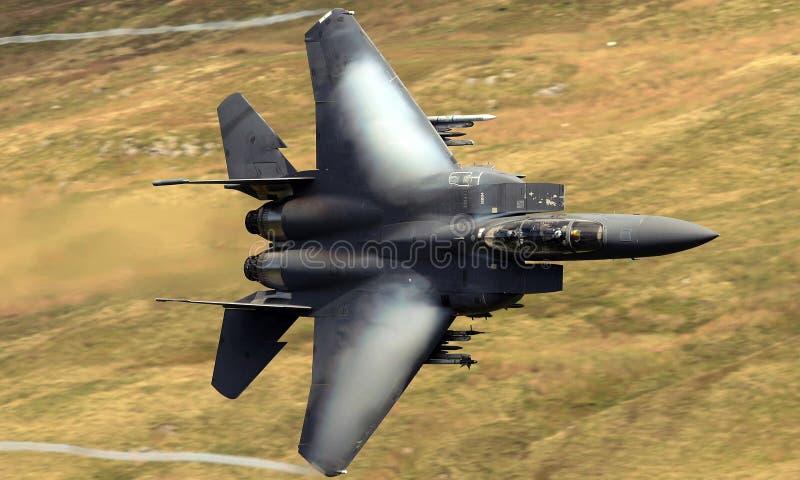 美国空军队F-15老鹰喷气式歼击机航空器 库存照片