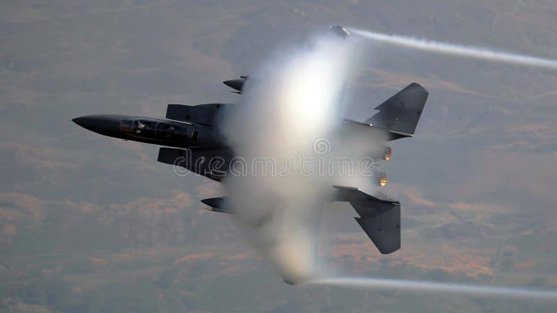 美国空军队F-15老鹰喷气式歼击机航空器 图库摄影