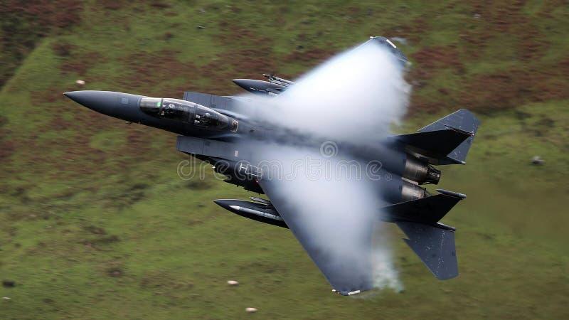 美国空军队F-15老鹰喷气式歼击机航空器 免版税库存照片