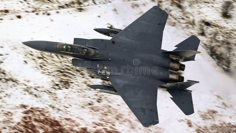 美国空军队F-15老鹰喷气式歼击机航空器 免版税库存图片