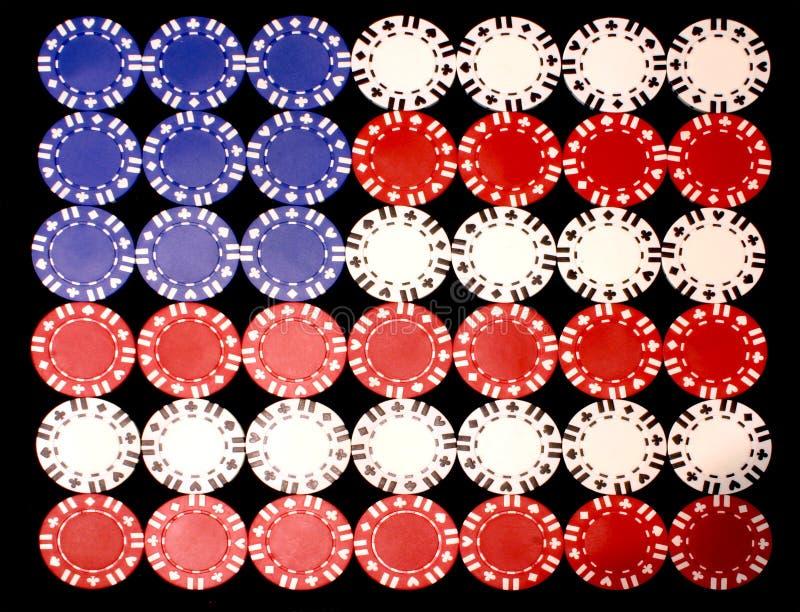 美国筹码标志啤牌 图库摄影