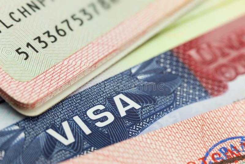 美国签证在护照背景中 免版税库存图片